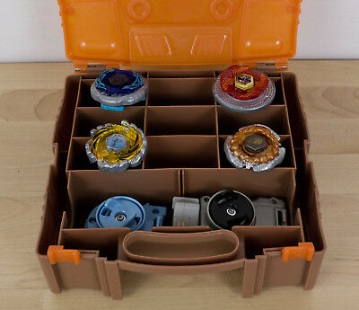 Beyblade Metal Fury Lot Case 4 Spinners 2 Launchers Hasbro 2010 Retired