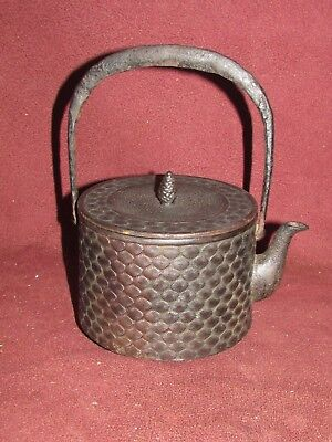 Antique Japanese Cast Iron Tea Pot Tetsubin w Flower Decoration