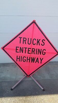 "TRUCKS ENTERING HIGHWAY Road Work Construction Sign & Base 48"" X 48"" Utility"