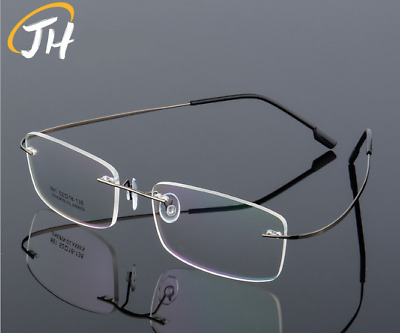 74c481f36f Flexible Memory Titanium-Alloy Rimless Glasses Eyeglass Frames Women Men  RX-able