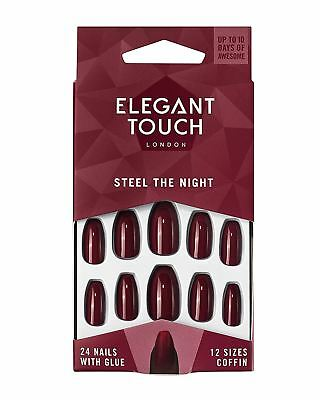 Elegant Touch After Dark Steel The Night Red False Nails Glue Included 24 Nails