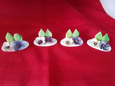 Crown Staffordshire Set of 4 Name Card Holders Floral  Bone China