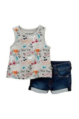 dec47afb6 True Religion Baby Girl s Doodle Tank Top and denim short set NEW Grey  Outfit
