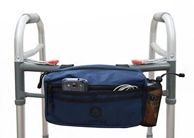 Wheelchair Pouch Rollator Walker Cycle Scooter Storage Bag Mesh Cup Holder Blue