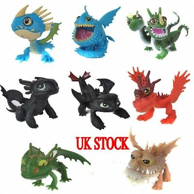 UK How to Train Your Dragon 8 pcs Action Figures Set:Toothless Night Fury Nadder