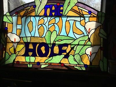 Vintage Hobbits Hole Stained Glass Window