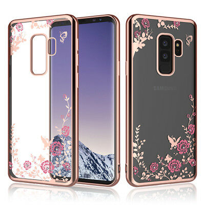 Crystal Bling Floral Slim Soft Clear Case Cover For Samsung Galaxy S9 S8 Plus A8