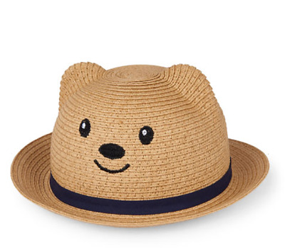 Baby Boys Bear Woven Hat 3 Sizes Natural Faux Straw Polyester Gift Fashion