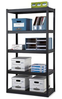 "Edsal Heavy-Duty Steel Shelving, 5 Shelves, 36""W x 18""D, Black"
