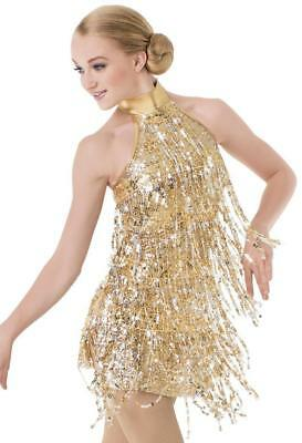 ab6de578f3ef6 Dance Costume Small Adult Gold Fringe Jazz Tap Flapper Latin Solo  Competition ...