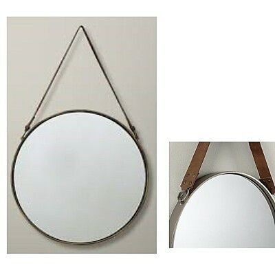 Round Wall Hanging Mirror With Cow Leather Strap Rustic Look