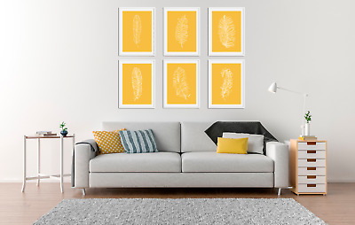 Feather Prints Set, Minimalist Colour Pictures, Living Room Decor Mustard Yellow