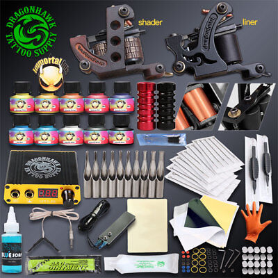 Complete Tattoo Kit Needles 2 Machine Guns Power Supply 20 Color 10 bottles Ink