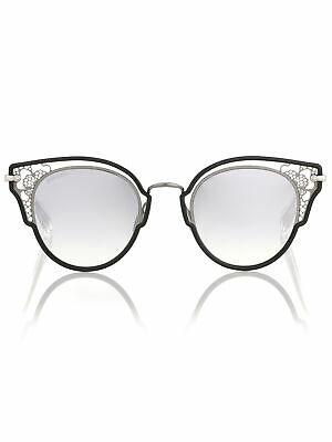 9a8cb1783ea Jimmy Choo Dhelia S 284 IC Sunglasses Black Ruthenium Frame Silver Mirror  48mm