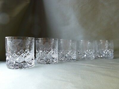 5 Whisky Glasses, Wheel Etched with Grapevine, Tutbury Crystal