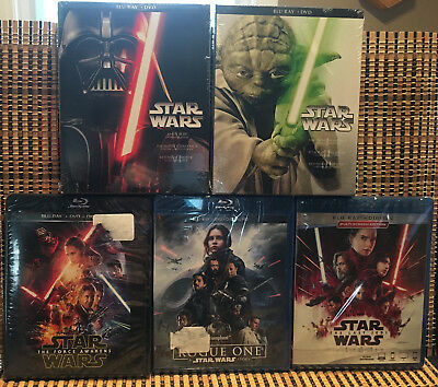 Star Wars 1-8+Rogue One (20-Disc Blu-ray/DVD)+Slips.Last Jedi/Empire/Sith/Force