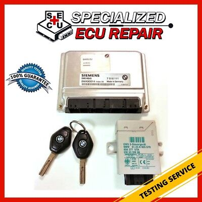 TESTING SERVICE BMW 525 530 E39 ECU DME MS43 Engine Computer EWS Key Fob Set Kit