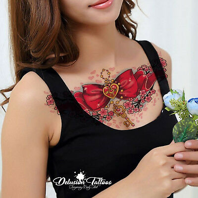 Realistic Temporary Tattoo - Big Red Bow, Heart, Daisies - Womens, Kids Fake