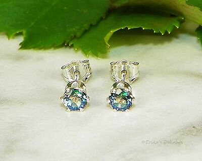 Genuine Kelly Green Rainbow Topaz Round Sterling Silver Earrings (Choose Size)