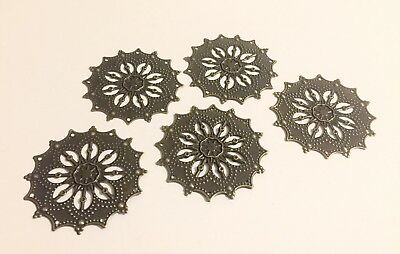 Antique Bronze Filigree Steampunk Flower Wraps Connector Jewelry Making Lot of 5
