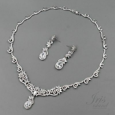 White Gold Plated Clear Cubic Zirconia Necklace Earrings Wedding Jewelry Set 600