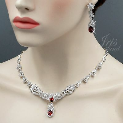White Gold Plated Red Cubic Zirconia Necklace Earrings Wedding Jewelry Set 00613