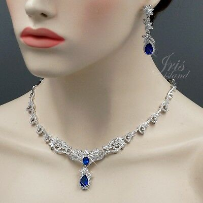 White Gold Plated Blue Cubic Zirconia Necklace Earrings Wedding Jewelry Set 0635
