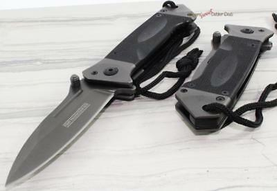 """8.75"""" TAC-FORCE Black G10 Military Combat Tactical Spring Assisted Opening Knife"""
