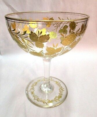 Antique Gilt Gold Stevens & Williams Wheel Cut Gold Glass Stemmed Compote