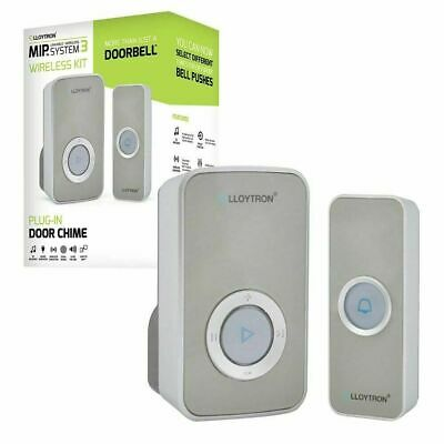 32 Chime Wireless Door Bell Cordless 100M Range Quality LLOYTRON Melody 3 Colour