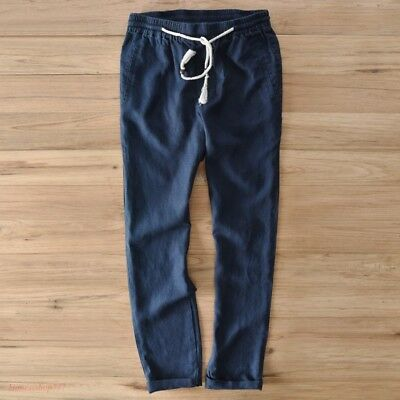 dd7950a15d Beach Mens Cotton Linen Straight Pant Slim Fit Elastic Waist Casual New  Trousers