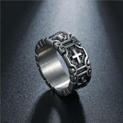 Stainless Steel Men Ring Punk Biker New Design Cross Fashion Jewelry
