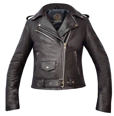 Ladies All Black Genuine Cowhide Leather Brando Perfecto Biker Leather Jacket