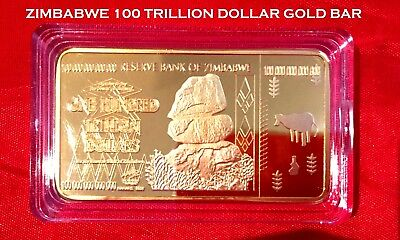 100 TRILLION GOLD BAR ZIMBABWE BANKNOTE DOLLAR OF REAL CURRENCY 2008+ capsu