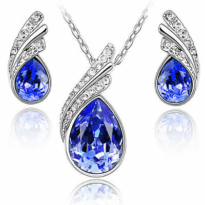 Austria Crystal Water Drop Leaves Silver Plated Earrings Necklaces Jewelry Sets