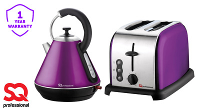 1.8L Cordless Electric Kettle Toaster 2 Two Slice Wide Slot Toaster Set Purple