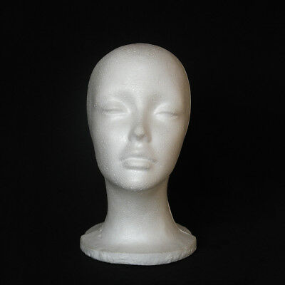 Female Foam Mannequin Head Model Hat Wig Display Stand Rack white H3F8 Braw