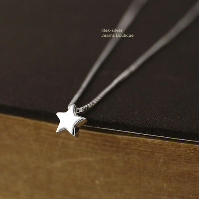 Genuine 925 Sterling Silver Simple Star Small Charm Pendant Necklace A2563