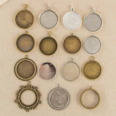 5 Round Pendant Trays, Fit 30mm Cabochon Base Metal Setting Blank Bezel Frame