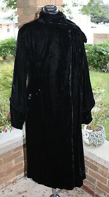Antique Black Velvet Opera Jacket Poof Sleeves 1930s / 40s era silk lined
