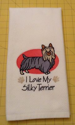 I Love My Silky Terrier Embroidered Kitchen Hand Towel 100% cotton xtra lg