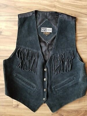 L Vintage Womens Mona-Mode Genuine Leather Black Tassle Vest
