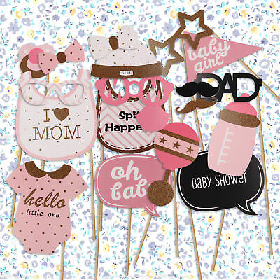 20X Photo Booth Props Baby Shower Pink Girl Birthday Party Photography DIY Masks