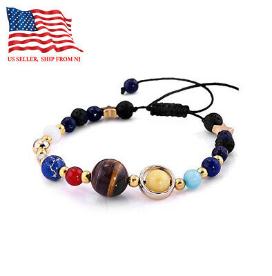 Galaxy Planets Guardian Star Natural Stone Beads Bracelet Bangle For Men women
