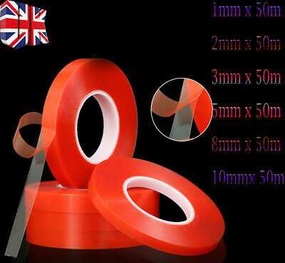 50M Double Sided Super Sticky Clear Tape Red Strong Craft DIY Roll 1 3 5 8 10mm