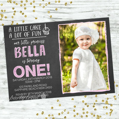 Girls 1St Birthday Invitations First Party Chalk Personalised Invites
