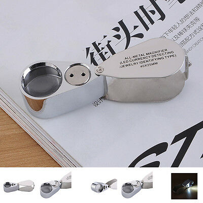 Folding Jewelry Loupe 40X 25mm Glass Magnifier Magnifying with LED & UV Light