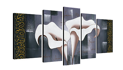 Abstract Framed 5 Panel Lily Flower Floral Painting Picture - Canvas Wall Art