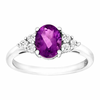 2 3/8 ct Natural Amethyst & White Topaz Ring in Sterling Silver