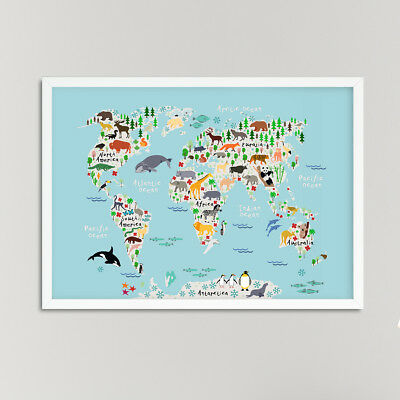 Animals World Map Nursery Print / Picture, For Boys / Girls Bedroom Blue